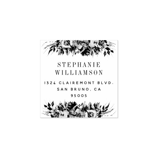 Elegant Typography Floral Return Address Rubber Stamp