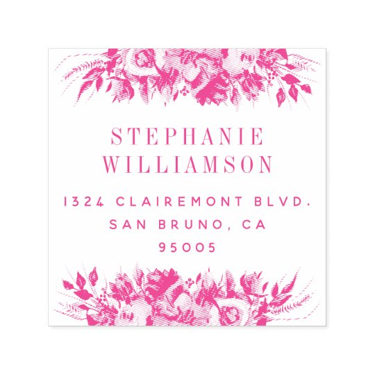 Elegant Typography Floral Return Address Self-inking Stamp