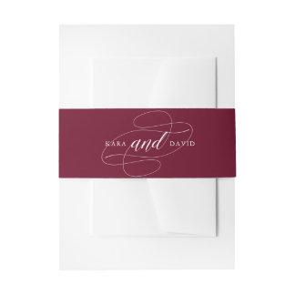 Elegant Typography | Marsala Wedding Invitation Belly Band