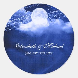 Elegant Under the Moonlight Wedding Favor Label Round Sticker