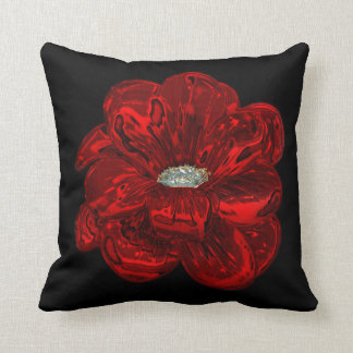 Elegant Unique Black Bloomed Red Rose Throw Throw Pillow