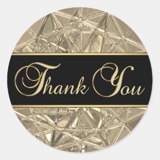 Elegant Unique Black Gold Metallic Glass Thank You Classic Round Sticker