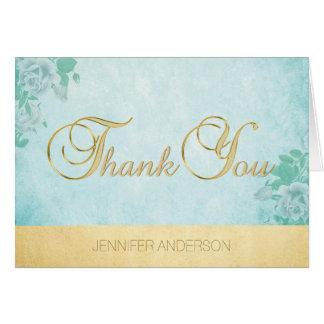 Elegant Unique Mint Watercolor Gold Foil Thank You Card