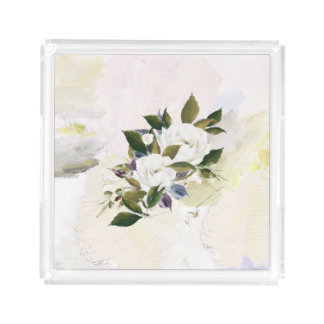 Elegant, Unique, Sophisticated Pastel Floral Oil Acrylic Tray