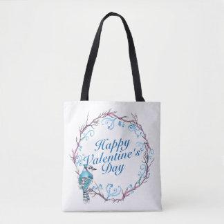 Elegant Valentine's Day Blue Wreath Tote Bag