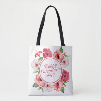 Elegant Valentine's Day Floral Frame Tote Bag