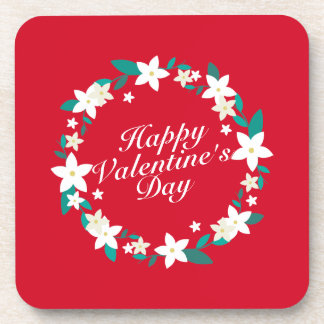 Elegant Valentine's Day Floral Wreath   Coaster