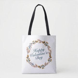 Elegant Valentine's Day Floral Wreath Tote Bag