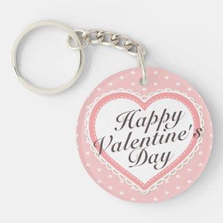 Elegant Valentine's  Day Pink Hearts Keychain