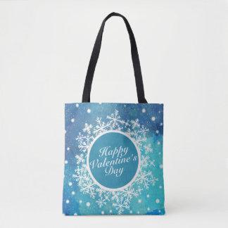 Elegant Valentine's Day Snowflakes Frame Tote Bag