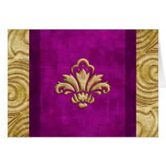 Elegant Velvet Look Gold Fleur de Lis Card