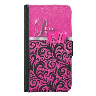 Elegant Verder Swirls | Pink Glitter Samsung Galaxy S5 Wallet Case