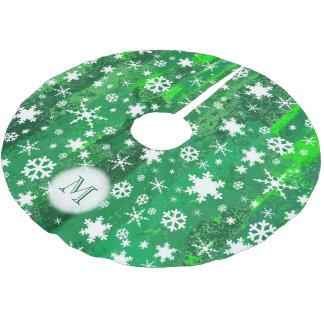 Elegant Vibrant Snowflake Pattern Green Background Brushed Polyester Tree Skirt