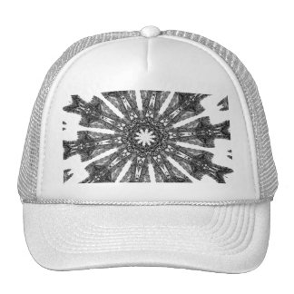 Elegant Victorian Black White Parasol Kaleidoscope Trucker Hat