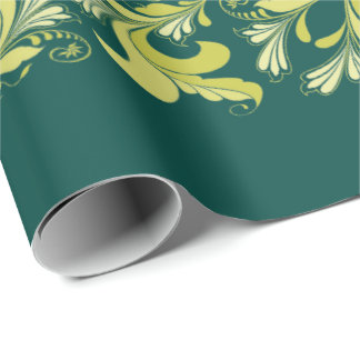 Elegant victorian floral pattern green yellow wrapping paper