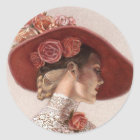 Elegant Victorian Lady Fine Art Vintage Rose Hat Classic Round Sticker
