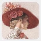 Elegant Victorian Lady Fine Art Vintage Rose Hat Square Sticker