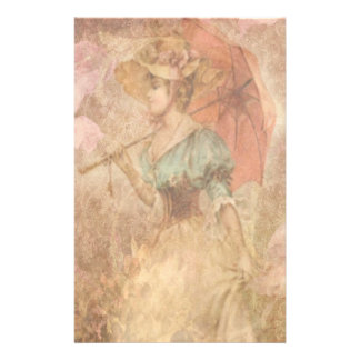 Elegant Victorian Lady Umbrella Stationery