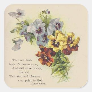 Elegant Victorian Pansy Flower  Poem Sticker