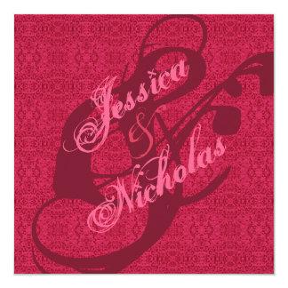 Elegant Victorian Pink Pattern Wedding Invitations