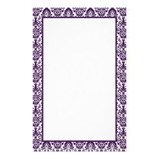 Elegant Victorian Purple Lace Damask Print Border Stationery
