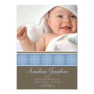 Elegant Victorian Stamp Birth Announcement: blue Card