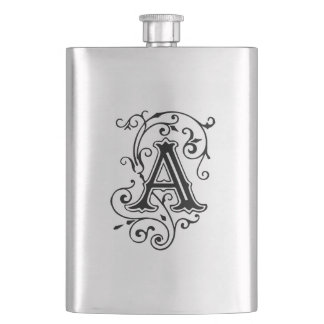 Elegant Victorian Style Letter A Monogram Flasks