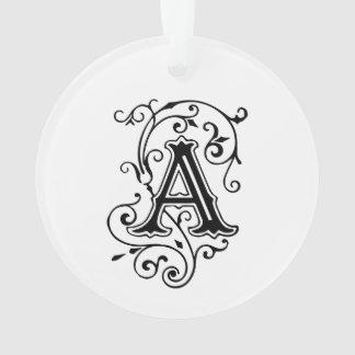 Elegant Victorian Style Letter A Monogram Ornament