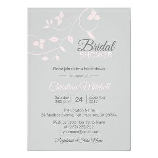 Elegant Vine Blush Pink Rose Grey Bridal Shower Card