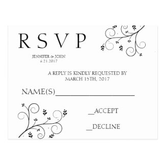 Elegant Vines RSVP Cards Postcard