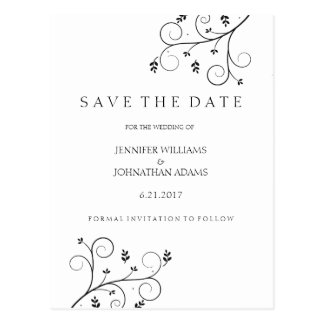 Elegant Vines Save the Date Cards Postcard
