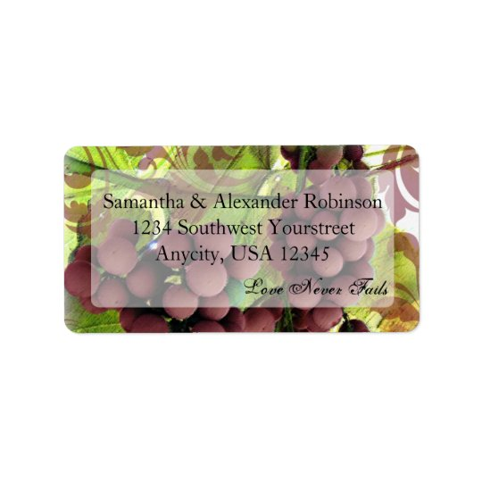 Elegant Vineyard Purple/Green Grapes Wedding Label