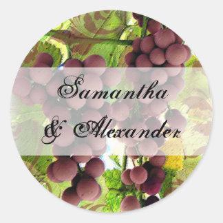 Elegant Vineyard Purple/Green Grapes Wedding Round Sticker