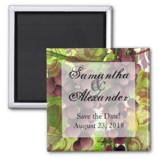 Elegant Vineyard Purple/Green Grapes Wedding Square Magnet