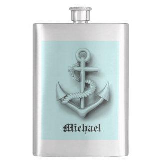 Elegant vintage anchor nautical blue /add name flasks