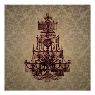 Elegant vintage antique chandelier on Damask Poster