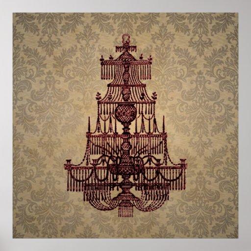 Elegant vintage antique chandelier on Damask Posters