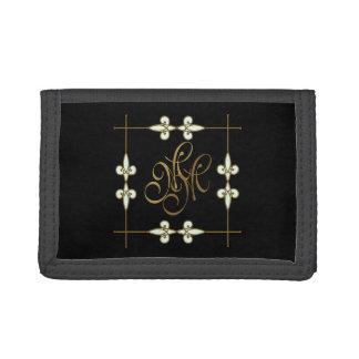 Elegant Vintage Art Deco Gold Ornament Monogram Trifold Wallets