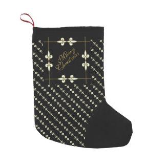 Elegant Vintage Art Nouveau Gold and Black Small Christmas Stocking