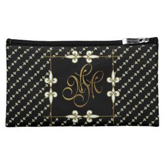 Elegant Vintage Art Nouveau Lily Ornament Monogram Cosmetic Bag