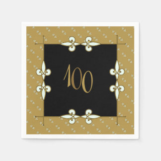 Elegant Vintage Art Nouveau Ornament 100+ Birthday Paper Napkin