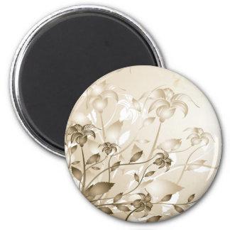 Elegant Vintage Beige Lilies Magnets
