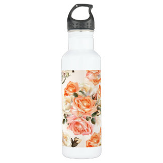 Elegant Vintage beige rose pattern 710 Ml Water Bottle
