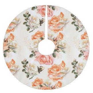 Elegant Vintage beige rose pattern Brushed Polyester Tree Skirt