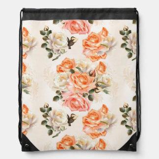 Elegant Vintage beige rose pattern Drawstring Bag