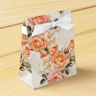 Elegant Vintage beige rose pattern Favor Box