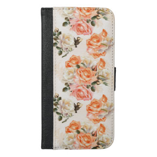 Elegant Vintage beige rose pattern iPhone 6/6s Plus Wallet Case