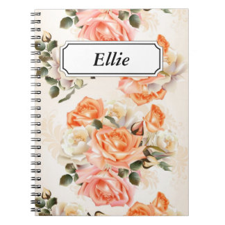 Elegant Vintage beige rose pattern Notebook