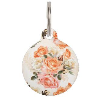 Elegant Vintage beige rose pattern Pet Name Tag
