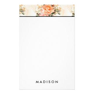 Elegant Vintage beige rose pattern Stationery Paper
